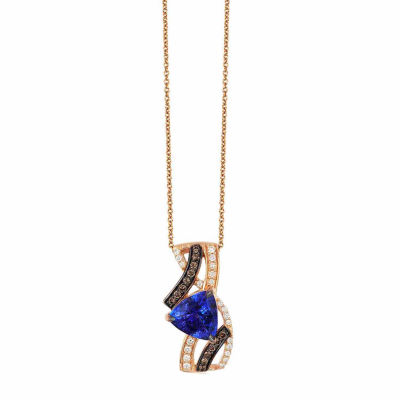 Grand Sample Sale™ by Le Vian® Blueberry Tanzanite® & 1/4 CT. T.W. Vanilla Diamonds® and Chocolate Diamonds® in 14k Strawberry Gold® Chocolatier® Pendant