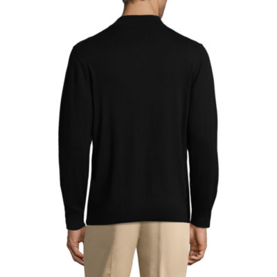 Claiborne Quarter Zip Mock Neck Long Sleeve Pullover Sweater