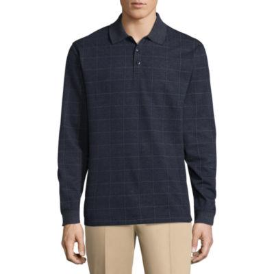 Haggar Long Sleeve Plaid Jacquard Polo Shirt