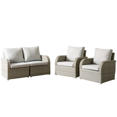 CorLiving Brisbane Weather Resistant Resin Wicker 4-pc. Chair and Loveseat Patio Set