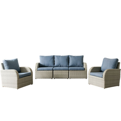 CorLiving Brisbane Weather Resistant Resin Wicker 5-pc. Chair and Sofa Patio Set