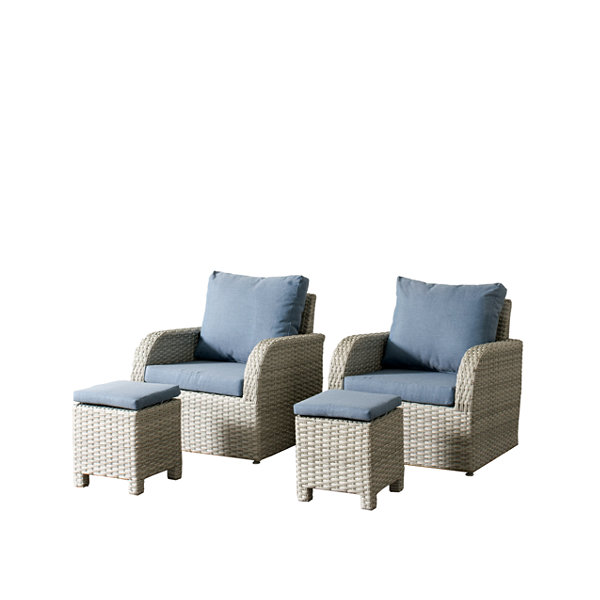 CorLiving Brisbane Weather Resistant Resin Wicker 4-pc. Chair and Ottoman Patio Set