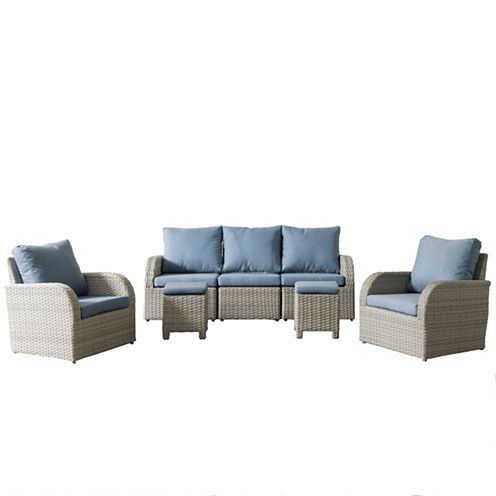 CorLiving Brisbane Weather Resistant Resin Wicker 7-pc. Chair and Sofa Patio Set