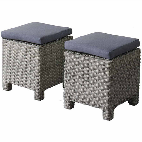 CorLiving Brisbane Weather Resistant Resin Wicker Ottomans - Set of 2