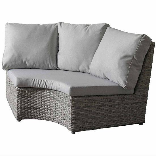 CorLiving Brisbane Weather Resistant Resin Wicker Corner Patio Chair