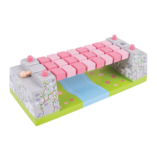 Pink Rope Bridge Wooden Train Accessory Train