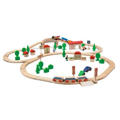 Eichhorn - 81 Piece Wooden Train Set with Bridge