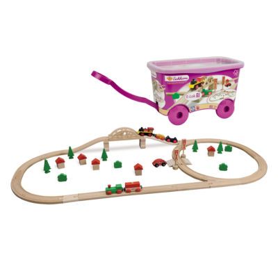 Eichhorn - 55 Piece Wooden Train Set with Bridge and Storable Wagon