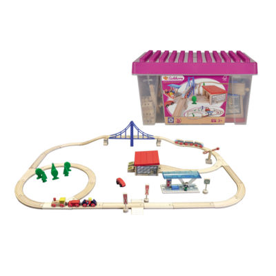 Eichhorn - 58 Piece Large Wooden Train Set