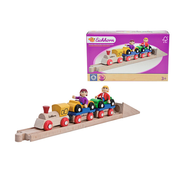 Eichhorn - 10 Piece Wooden Car Shuttle Train Set