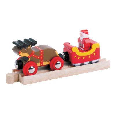 BigJigs Toys - Wooden Santa Sleigh with Reindeer