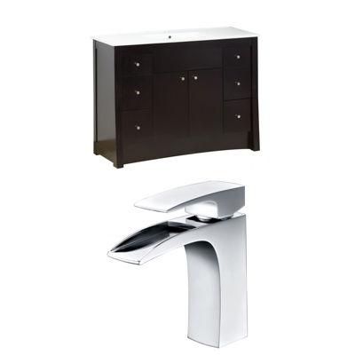 American Imaginations Elite Rectangle Floor MountSingle Hole Center Faucet Vanity Set
