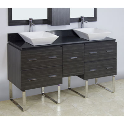 American Imaginations Xena Quartz Rectangle FloorMount Single Hole Center Faucet Vanity Set