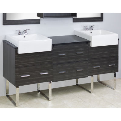 American Imaginations Xena Farmhouse Rectangle Floor Mount 4-in. o.c. Center Faucet Vanity Set