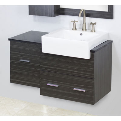 American Imaginations 35-in. W x 17.5-in. D Transitional Birch Wood-Veneer Vanity Base Only In Distressed Antique Walnut