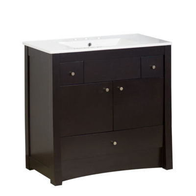American Imaginations 35-in. W x 18-in. D Modern Wall Mount Plywood-Veneer Vanity Base Only In White