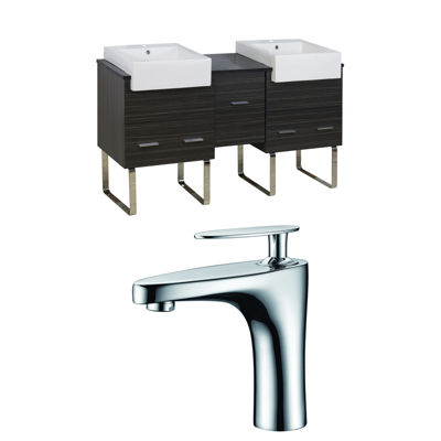 American Imaginations Xena Farmhouse Rectangle Floor Mount Single Hole Center Faucet Vanity Set