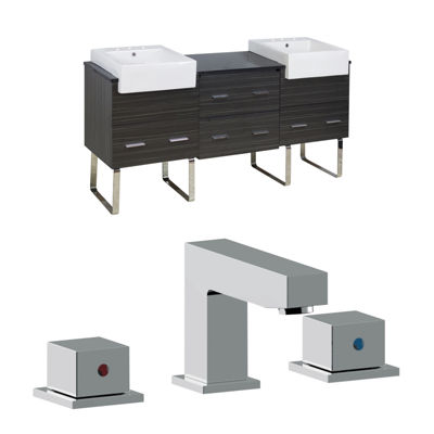 American Imaginations Xena Farmhouse Rectangle Floor Mount 8-in. o.c. Left-Right Faucet Vanity Set