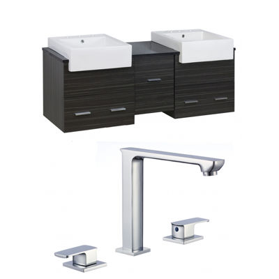 American Imaginations 24-in. W x 18.3-in. D QuartzTop In Black Galaxy Color For Deck Mount Faucet
