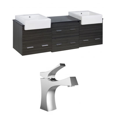 American Imaginations Xena Farmhouse Rectangle Wall Mount Single Hole Center Faucet Vanity Set