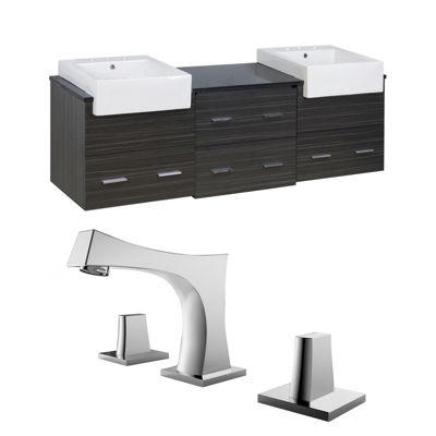 American Imaginations 59-in. W x 18.25-in. D Quartz Top In Black Galaxy Color For Single Hole Faucet