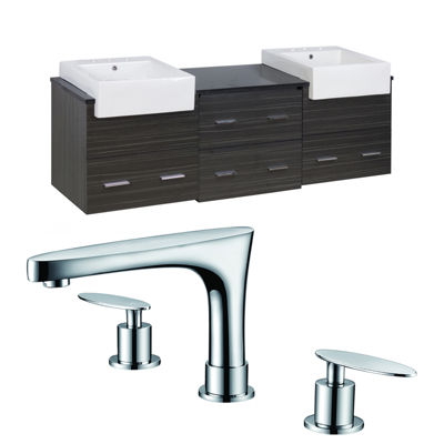 American Imaginations 36-in. W x 18.25-in. D Quartz Top In Black Galaxy Color For 8-in. o.c. Faucet