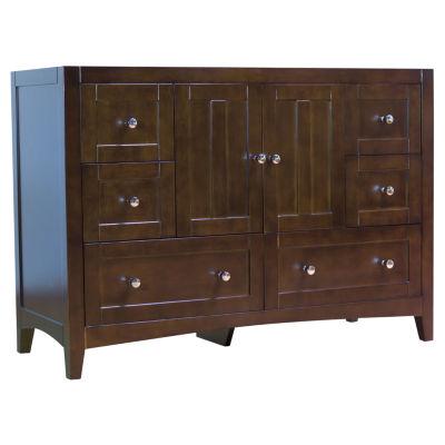 American Imaginations Shaker Rectangle Floor Mount46.5-in. W x 18-in. D Modern Plywood-Veneer Vanity Base Only In Walnut