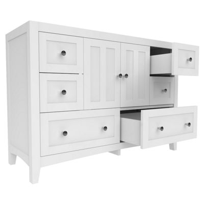 American Imaginations Shaker Rectangle Floor Mount46.5-in. W x 18-in. D Modern Plywood-Veneer Vanity Base Only In White