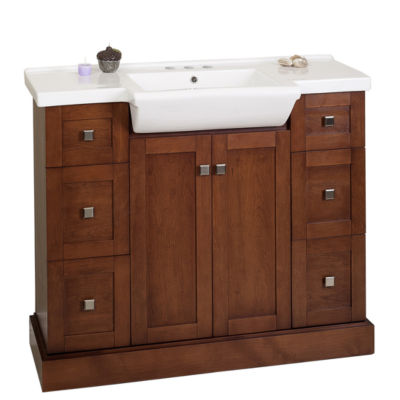 American Imaginations 23-in. W x 18-in. D Modern Birch Wood-Veneer Vanity Base Only In Coffee