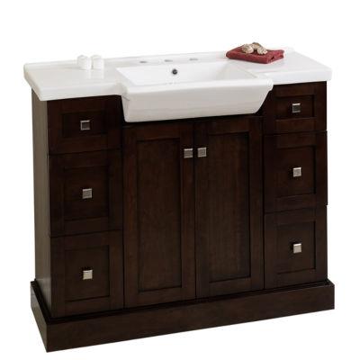 American Imaginations 29.5-in. W x 18-in. D ModernBirch Wood-Veneer Vanity Base Only In Coffee
