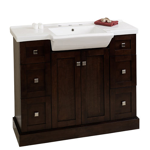 American Imaginations 29.5-in. W x 18-in. D ModernBirch Wood-Veneer Vanity Base Only In Coffee