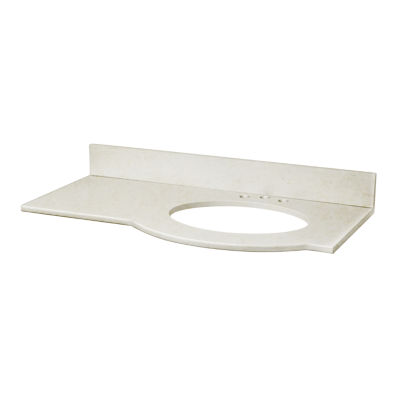 American Imaginations Tiffany Rectangle Countertop4-in. o.c. Right Faucet Marble Top