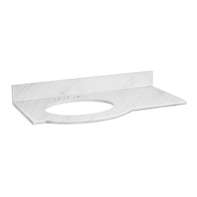 American Imaginations Tiffany Rectangle Countertop4-in. o.c. Left  Faucet Marble Top