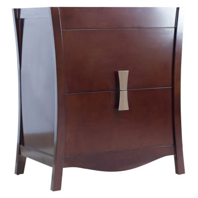 American Imaginations Bow Rectangle Floor Mount 29.5-in. W x 18-in. D Modern Birch Wood-Veneer Vanity Base Only In Coffee