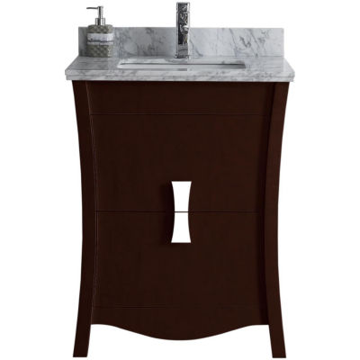 American Imaginations Bow Rectangle Floor Mount Single Hole Center Faucet Vanity Set