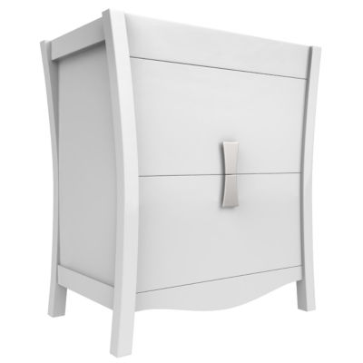 American Imaginations Bow Rectangle Floor Mount 29.5-in. W x 18-in. D Modern Birch Wood-Veneer Vanity Base Only In White