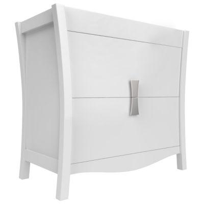 American Imaginations Bow Rectangle Floor Mount 34.75-in. W x 18-in. D Modern Birch Wood-Veneer Vanity Base Only In White