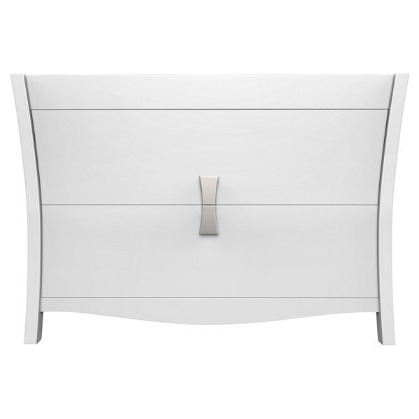 American Imaginations Bow Rectangle Floor Mount 46.5-in. W x 18-in. D Modern Birch Wood-Veneer Vanity Base Only In White