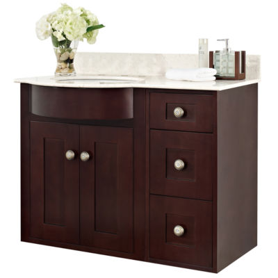 American Imaginations Tiffany Rectangle Transitional Wall Mount Birch Wood-Veneer Vanity Base Set Only In Coffee