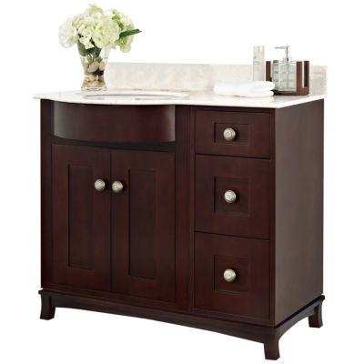 American Imaginations 22.75-in. W x 18-in. D Transitional Birch Wood-Veneer Vanity Base Only In Antique Walnut