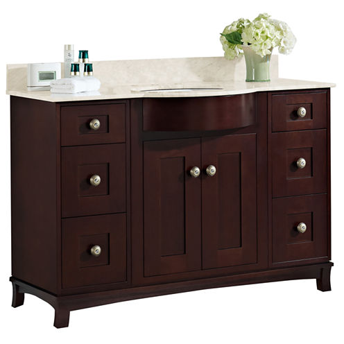 American Imaginations 28.75-in. W x 18.3-in. D Transitional Birch Wood-Veneer Vanity Base Only In Antique Walnut