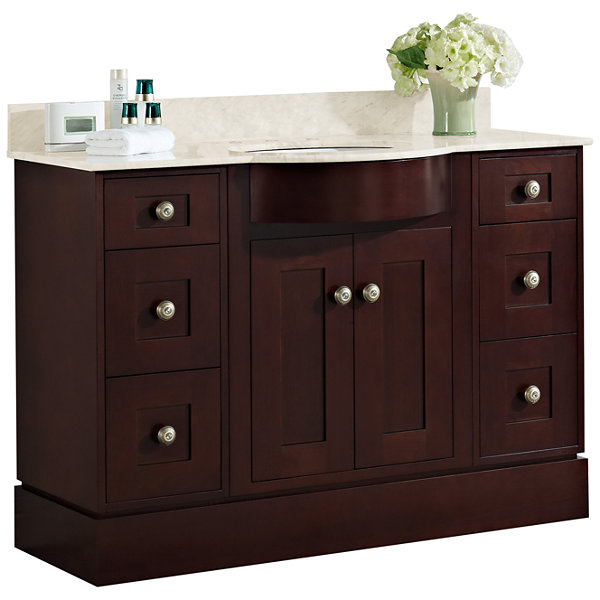 American Imaginations Tiffany Rectangle Floor Mount Transitional Birch Wood-Veneer Vanity Base Set Only In Coffee