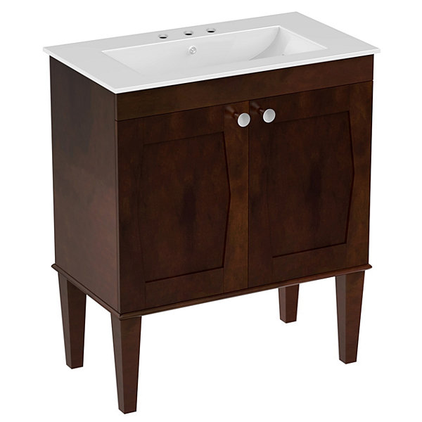 American Imaginations 23.25-in. W x 17.25-in. D Modern Wall Mount Plywood-Veneer Vanity Base Only InWhite