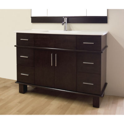 American Imaginations 35-in. W x 18-in. D Modern Wall Mount Plywood-Melamine Vanity Base Only In Dawn Grey