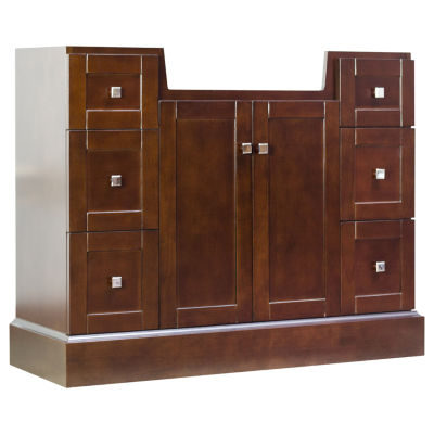 American Imaginations 59-in. W x 21-in. D Traditional Birch Wood-Veneer Vanity Base Only In AntiqueCherry
