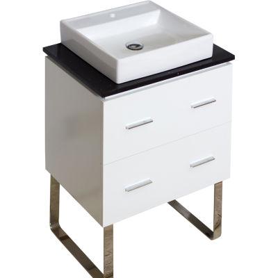 American Imaginations Xena Quartz Rectangle FloorMount Single Hole Center Faucet Vanity Set