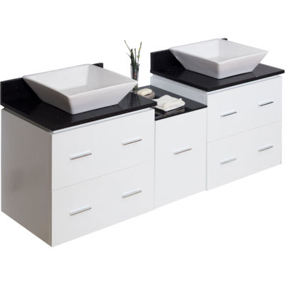 American Imaginations 60.5-in. W x 17.75-in. D Modern Wall Mount Plywood-Melamine Vanity Base Only In Dawn Grey
