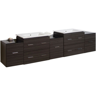 American Imaginations 88.5-in. W x 17.8-in. D Modern Wall Mount Plywood-Melamine Vanity Base Only InDawn Grey