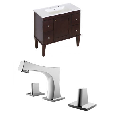 American Imaginations Roxy Rectangle Floor Mount 8-in. o.c. Center Faucet Vanity Set