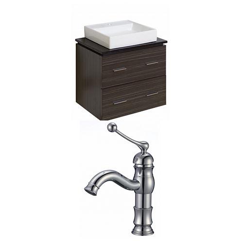 American Imaginations Xena Quartz Rectangle Wall Mount Single Hole Center Faucet Vanity Set